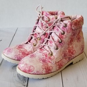 Lucky Top Pink Floral Print Lace Up Ankle Boots 3